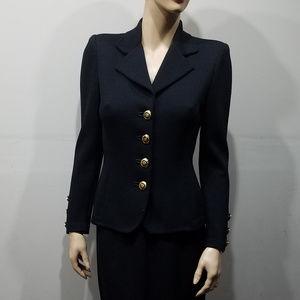 ST JOHN Basics Size 2 Black Skirt Blazer Suit